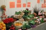 Bilden visar olika kålsorter och frukter. Kötträtter lämpar sig ju inte till en utställning som stå länge.