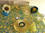 Lime-turkos vardagsdukning