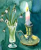 Men levande ljus tänder vi ändå, för trevnads skull, det mildrar det starka vårljuset.