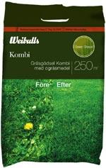 KOMBI- kombinerat ogräsmedel och gräsmattegödsel.