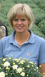 En av initiativtagarna till pelargonutställningen är Maria Lundgren från Arvidssons i Fjärås.