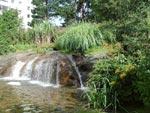 Här ses en anläggning hos HSB i Kortedala. Där har samma team varit i farten och resultatet är mycket fint. Västkustens bergiga tomter fungerar utmärkt för spännande arrangemang, såsom detta vattenfall, som forsar nerför det naturliga berget till en murad damm.